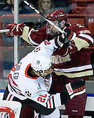 Luke Eibler (Northeastern - 20), Chris Kreider (BC - 19) - The Northeastern University Huskies defeated the visiting Boston College Eagles 2-1 on Saturday, February 19, 2011, at Matthews Arena in Boston, Massachusetts.