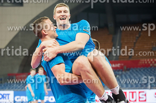 Vid Poteko of Slovenia and Blaz Blagotinsek of Slovenia during practice session of Team Slovenia on Day 1 of Men's EHF EURO 2016, on January 15, 2016 in Centennial Hall, Wroclaw, Poland. Photo by Vid Ponikvar / Sportida