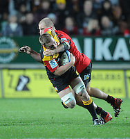 Chiefs Sam Cane is tackled by Crusaders Ben Franks in the Super 15 Rugby semi final match, Waikato Stadium, New Zealand, Friday, July 27, 2012. Credit:SNPA / Ross Setford