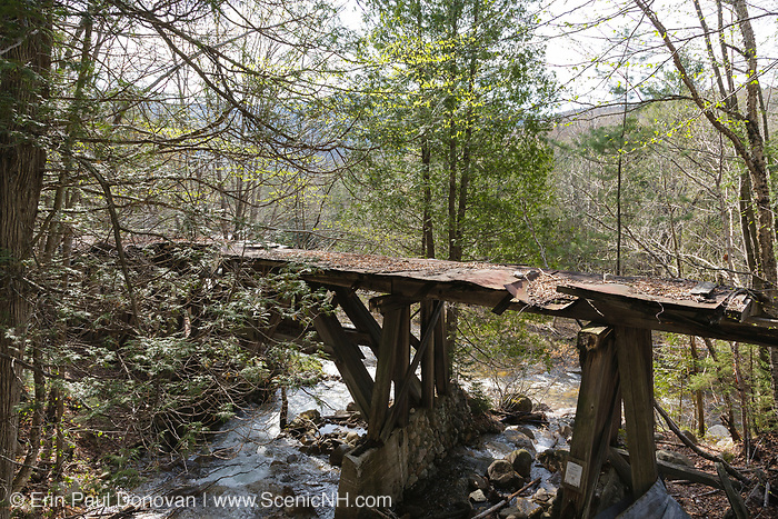 Pemigewasset Wilderness - Trestle 16 (Black Brook Trestle) along the old East Branch & Lincoln Railroad in Lincoln, New Hampshire USA just pass the old Camp 16 location. This was a logging railroad which operated from 1893-1948.