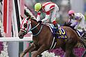 Reine Minoru (Kenichi Ikezoe),<br /> APRIL 9, 2017 - Horse Racing :<br /> Reine Minoru ridden by Kenichi Ikezoe wins the Oka Sho (Japanese 1000 Guineas) at Hanshin Racecourse in Hyogo, Japan. (Photo by Eiichi Yamane/AFLO)