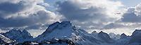 Mountains of Moskenesoya in winter, Lofoten islands, Norway