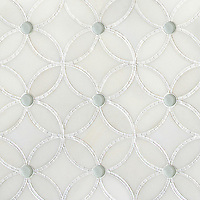 Esferitas, a handmade mosaic shown in honed Paperwhite, tumbled Thassos and Tropical White glass. Designed by Paul Schatz for New Ravenna.<br />