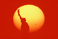 Statue of Liberty &amp; Sun, National Monument, New York City, New  York, New Jersey