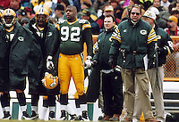 Keith Jackson, Reggie White and Coach Mike Holmgren on the sidelines during the December 1, 1996 game against the Chicago Bears. The Pack won the game, 28-17.