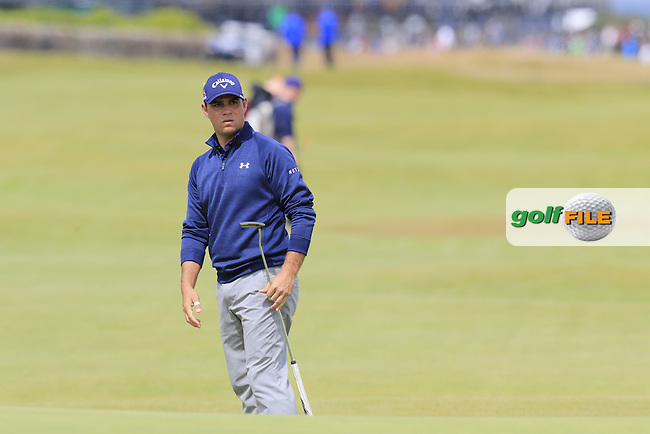 Gary WOODLAND (USA) putts onto the 17th green during Monday's Final Round of the 144th Open Championship, St Andrews Old Course, St Andrews, Fife, Scotland. 20/07/2015.<br /> Picture Eoin Clarke, www.golffile.ie