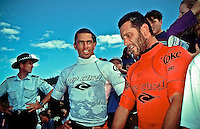 KELLY SLATER (USA) first and MARIN POTTER (GB) second, after their final in the 1994 Rip Curl Pro at Bells Beach, Torquay,  Victoria, Australia. photo Joliphotos.com