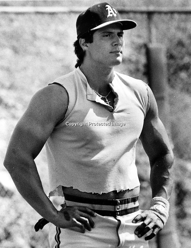 A's slugger Jose Canseco (copyright 1987 Ron Riesterer)
