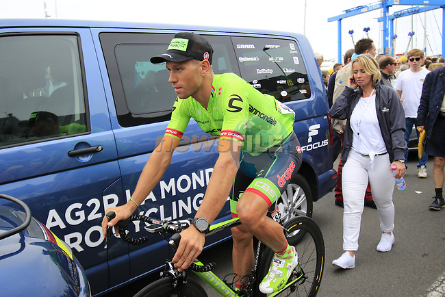 Kristijan Koren (SLO) Cannondale Drapac makes his way to sign on before the start of Stage 3 of the 2016 Tour de France, running 223.5km from Granville to Angers, France . 4th July 2016.<br /> Picture: Eoin Clarke | Newsfile<br /> <br /> <br /> All photos usage must carry mandatory copyright credit (&copy; Newsfile | Eoin Clarke)