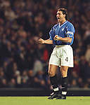 Lorenzo Amoruso tries to rally the troops as Rangers go down to Valencia at Ibrox in the Champions League in 1999