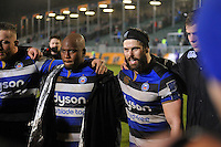 Guy Mercer of Bath Rugby speaks to his team-mates in a post-match huddle. Anglo-Welsh Cup match, between Bath Rugby and Gloucester Rugby on January 27, 2017 at the Recreation Ground in Bath, England. Photo by: Patrick Khachfe / Onside Images