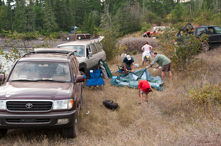 Vehicles gather at High Rock Bay on the Keweenaw Peninsula during the 2010 U.P. Overland trip in the Upper Peninsula of Michigan.