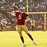 San Francisco 49ers quarterback Jeff Garcia (5) passes football on Sunday, October 27, 2002, in San Francisco, California. The 49ers defeated the Cardinals 38-28.  .