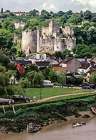 Wales, Chepstow.  Chepstow Castle with River Wye in Foreground.  Oldest Stone Castle in Britain.  Begun 1067, mostly 13th century.