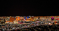 aerial photograph night time skyline Las Vegas, Clark County, Nevada