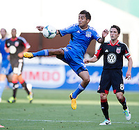 Rafael Baca (30) of the San Jose Earthquakes  brings the ball down during a Major League Soccer game at RFK Stadium in Washington, DC.  D.C. United defeated San Jose Earthquakes, 1-0.