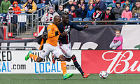 Foxborough, Massachusetts - April 8, 2017: In a Major League Soccer (MLS) match, New England Revolution (blue/white) defeated Houston Dynamo (orange/white), 2-0, at Gillette Stadium.