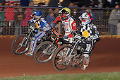 Heat 11: Marc Owen (red), Marvin Sonnier (yellow) and Brandon Freemantle - Hackney Hawks vs Team America - Speedway Challenge Meeting at Rye House - 09/04/11 - MANDATORY CREDIT: Gavin Ellis/TGSPHOTO - Self billing applies where appropriate - Tel: 0845 094 6026