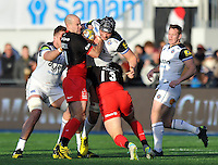 Charlie Ewels of Bath Rugby takes on the Saracens defence. Aviva Premiership match, between Saracens and Bath Rugby on January 30, 2016 at Allianz Park in London, England. Photo by: Patrick Khachfe / Onside Images