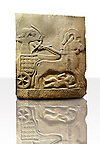 Picture & image of a Neo-Hittite orthostat with a chariot Releif sculpture from Karkamis,, Turkey. Ancora Archaeological Museum. The Cahiot is pulled by horses with plumed headresses. One man os about to shoot an arrow from his bow, the other man is driving the cahriot. Below the horse is a man dying. 4