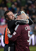 21 November 2010:  Colorado Rapids goalkeeper Matt Pickens #18 celebrates with Colorado Rapids forward Conor Casey #9 after winning the 2010 MLS CUP between the Colorado Rapids and FC Dallas at BMO Field in Toronto, Ontario Canada..The Colorado Rapids won 2-1 in extra time....