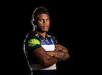 Kyle Eastmond poses for a portrait in the 2015/16 home kit during a Bath Rugby photocall on September 8, 2015 at Farleigh House in Bath, England. Photo by: Patrick Khachfe / Onside Images