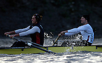 PUTNEY, LONDON, ENGLAND, 05.03.2006, Oxford vs USA crew  USA international left Chris Liwski and Mike Blomquist, Pre 2006 Boat Race Fixtures,.   © Peter Spurrier/Intersport-images.com..CUBC, Bow Luke Walton, No. 2 Tom Edwards, No.3 Sebastian Thormann, No 4. Thorsten Englemann, No.5 Sebastian Schulte, No.6 Kieran West, No.7 Tom James, stroke Kip McDaniel and cox Peter Rudge...OUBC, Bow Robin Esjmond-Frey, No.2 Colin Smith, No.3 Jake Wetzel, No.4 Paul Daniels, No.5 James Schroeder. No.6 Barney Williams, No. 7 Tom Parker, stroke Bastien Ripoll, and cox Nick Brodie,..[Mandatory Credit Peter Spurrier/ Intersport Images] Varsity Boat Race, Rowing Course: River Thames, Championship course, Putney to Mortlake 4.25 Miles