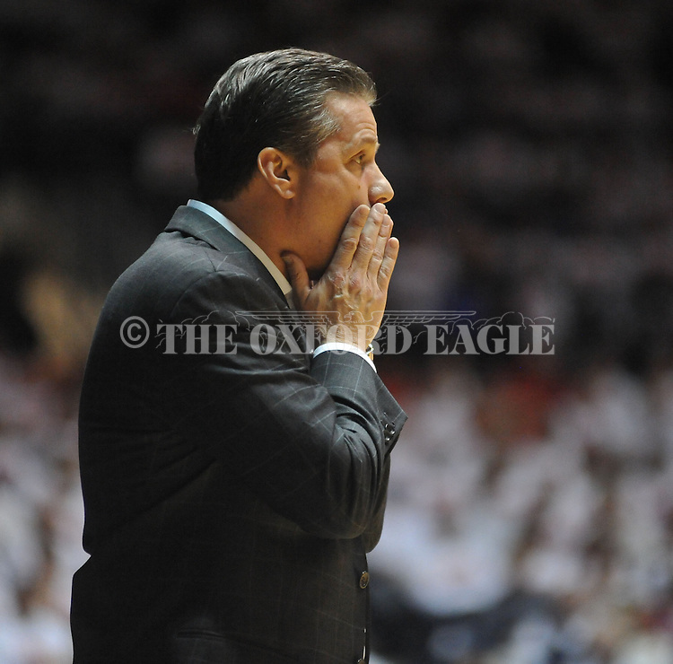 "Kentucky head coach John Calipari reacts against Mississippi at the C.M. ""Tad"" Smith Coliseum on Tuesday, January 29, 2013.  (AP Photo/Oxford Eagle, Bruce Newman).."