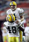 Green Bay's Brett Favre celebrates with Vonta Leach, Samkon Gado's third touchdown late in the 4th quarter. .The Green Bay Packers traveled to the Georgia Dome in Atlanta, Georgia to play the Falcons Sunday November 13, 2005. Steve Apps-State Journal.