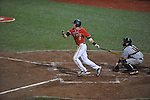 Ole Miss' Alex Yarbrough (2) drives in a run with a sacrifice fly vs. Murray State at Oxford-University Stadium in Oxford, Miss. on Wednesday, May 2, 2012.