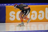 SCHAATSEN: HEERENVEEN; 11-10-2014, IJstadion Thialf, KNSB Trainingswedstrijd, Niels Mesu, ©foto Martin de Jong