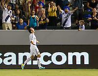 CARSON, CA - August 31, 2013: Los Angeles Galaxy forward Landon Donovan (10) celebration his goal during the LA Galaxy vs San Jose Earthquakes match at the StubHub Center in Carson, California. Final score, LA Galaxy 3, San Jose Earthquakes  0.