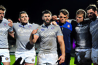 Guy Mercer of Bath Rugby speaks to his team-mates in a post-match huddle. European Rugby Challenge Cup match, between Pau (Section Paloise) and Bath Rugby on October 15, 2016 at the Stade du Hameau in Pau, France. Photo by: Patrick Khachfe / Onside Images