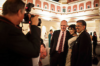 (L-R) Australia's High Commissioner to India Dr. Lachlan Strahan, OzFest Ambassador Pallavi Sharda, and an unidentified guest pose for a photograph together at the OzFest Gala Dinner in the Jaipur City Palace, in Rajasthan, India on 10 January 2013. Photo by Suzanne Lee