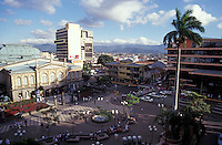 The Teatro Nacional and the Plaza de la Cultura in downtown San Jose, Costa Rica. Taken from the top of the Gran Hotel Costa Rica.