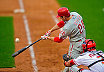 13 April 2009: Philadelphia Phillies' second baseman Chase Utley makes contact visiting the Washington Nationals during their Home Opener at Nationals Park in Washington, DC. The Nats fell short in their 9th inning rally, losing 9-8, as the visiting Phillies handed the Nats their 7th consecutive loss of the 2009 season. Mandatory Credit: Ed Wolfstein Photo
