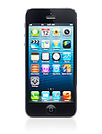 Apple iPhone 5 black with desktop icons on its display isolated on white background with clipping path