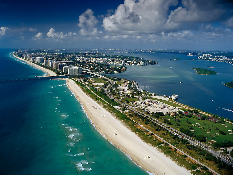 Aerial of Haulover Beach showing Haulover inlet, Biscayne Bay