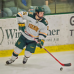 20 February 2016: University of Vermont Catamount Defenseman Trey Phillips, a Sophomore from Okotoks, Alberta, in third period action against the Boston College Eagles at Gutterson Fieldhouse in Burlington, Vermont. The Eagles defeated the Catamounts 4-1 in the second game of their weekend series. Mandatory Credit: Ed Wolfstein Photo *** RAW (NEF) Image File Available ***
