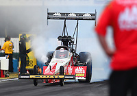 Feb 10, 2017; Pomona, CA, USA; NHRA top fuel driver Doug Kalitta during qualifying for the Winternationals at Auto Club Raceway at Pomona. Mandatory Credit: Mark J. Rebilas-USA TODAY Sports