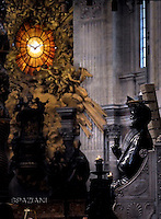 Statue St Peter Basilica St Peter at the Vatican.<br /> Statue St Peter Basilica St Peter at the Vatican,Pope Francis during the holy mass of Pentecost Sunday in Saint Peter's Basilica at the Vatican on 15 May 2016