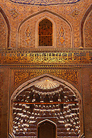 Low angle view of decorations of central hall of the mausoleum which contains several symbolical gravestones of the timurids,  Gur-Emir Mausoleum, 1417-20, Samarkand, Uzbekistan, pictured on July 14, 2010. Gur-Emir Mausoleum, or Tomb of the Ruler, was built by Timur in 1404 for his favourite grandson, Mohammed Sultan, and became the mausoleum for the Timurid dynasty. Samarkand, a city on the Silk Road, founded as Afrosiab in the 7th century BC, is a meeting point for the world's cultures. Its most important development was in the Timurid period, 14th to 15th centuries. Picture by Manuel Cohen.