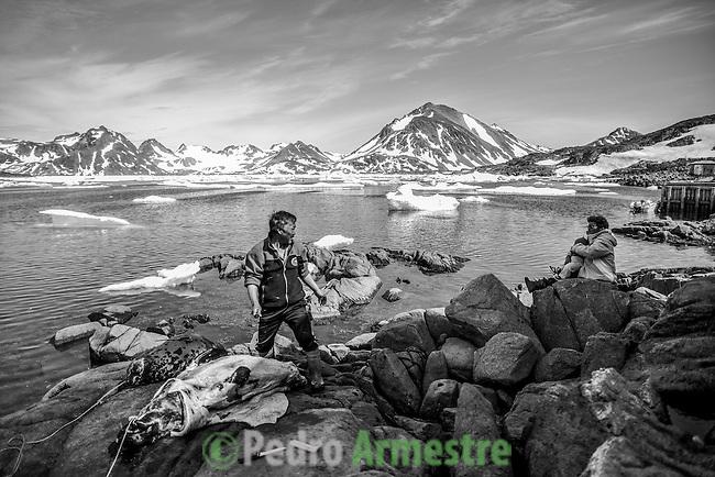 Un inuit, en Kulusuk, Groenlandia saca del agua una foca capturada como alimento en el puerto del pueblo. 17 Julio 2013. © Greenpeace/Pedro ARMESTRE
