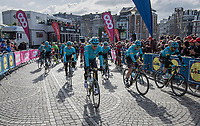A peloton in mourning approaches the race start in Li&egrave;ge.<br /> Only 1day earlier Astana teammate Michele Scarponi died in a training accident and the peloton is still in chock after the loss of their beloved colleague.<br /> <br /> 103rd Li&egrave;ge-Bastogne-Li&egrave;ge 2017 (1.UWT)<br /> One Day Race: Li&egrave;ge &rsaquo; Ans (258km)