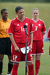 Christine Sinclair (12), Canada's player captain, read a statement as part of FIFA's ?Say No to Racism? campaign before the game on Sunday June 26th, 2005, during an international friendly soccer match at Virginia Beach Sportsplex in Virginia Beach, Virginia. The United States won the game 2-0.