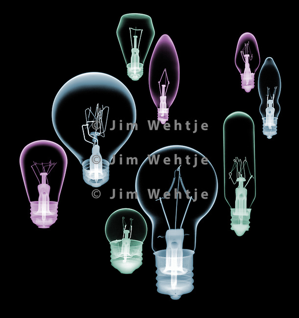 X-ray image of nine incandescent bulbs (color on black) by Jim Wehtje, specialist in x-ray art and design images.
