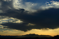 Aug. 14, 2012, Fountain Hills, AZ; Sunrise desert Arizona mountain clouds Four Peaks  Mandatory Credit: Mark J. Rebilas