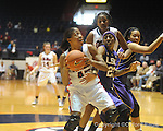 "Ole Miss's Bianca Thomas (45) vs. LSU's Allison Hightower (23) on Sunday, January 17, 2010 at the C.M. ""Tad"" Smith Coliseum in Oxford, Miss. Bianca Thomas scored 42 points, a C.M. ""tad"" Smith record for a woman's game, in the Lady Rebels 80-71 win."