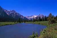 Rocky Mountains, Canadian Rockies, BC, British Columbia, Canada - Upper Elk River and Valley near Elkford, Summer