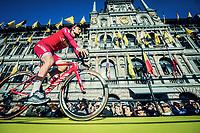 Team Katusha-Alpecin mounting the presentation podium in front of the Antwerp town hall before the race start<br /> <br /> 101th Ronde Van Vlaanderen 2017 (1.UWT)<br /> 1day race: Antwerp &rsaquo; Oudenaarde - BEL (260km)